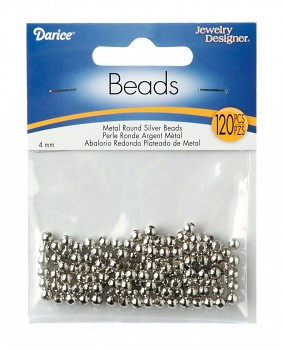 Metal beads 4mm x120 silver