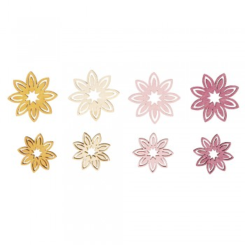 Wooden Objects Flowers / 3-4cm / 16pcs