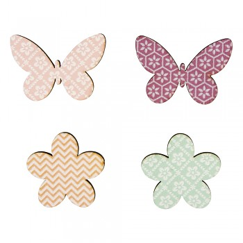 Wooden Objects Flowers + Butterflies / 3-4cm / 12pcs