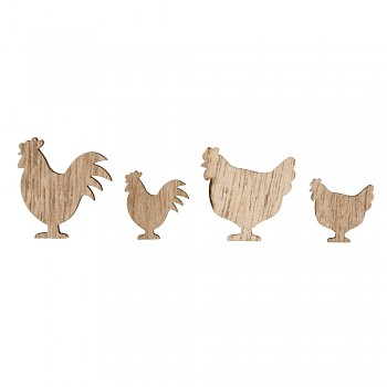 Wooden Objects Chicken / 3,5+2cm / 16pcs