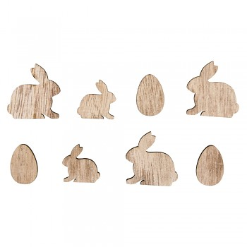 Wooden Objects Rabbits and eggs / 2-3cm / 16pcs