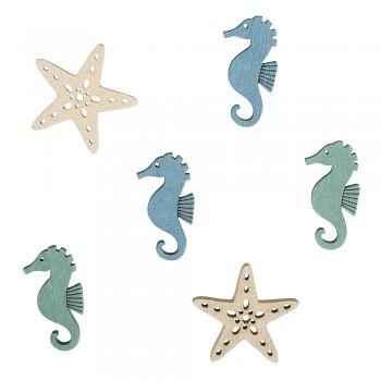Drevené dekorácie Starfish+Seahorse / 3cm / 15ks