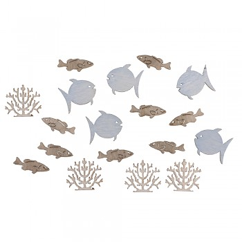 Wooden Objects Fishes + Coral / 2cm / 20pcs