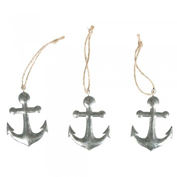 Metal anchor with cord / 4.3x5.2cm / 3pcs