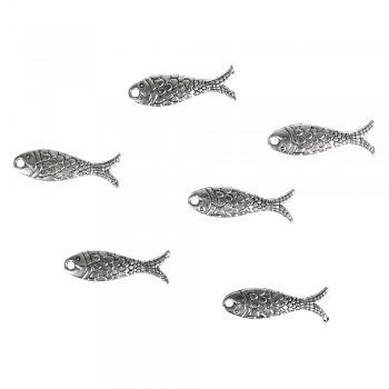 Metal pendant fishes, 2.3x0.7cm, 14pcs