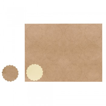 Plain-sticker, 3.5cm ø kraft / 12szt