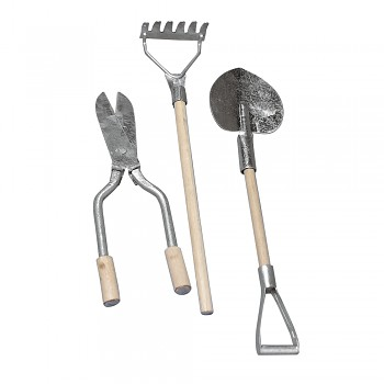 Metallic/wooden garden tools, 9-13 cm / 3pcs