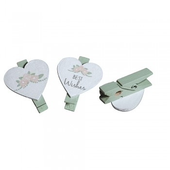 Wooden heart on peg / 3x3.5x1cm / 6pcs
