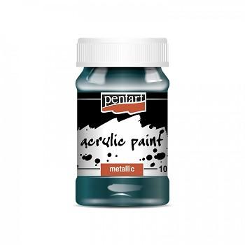 Pentart akrylová farba metalická 100ml / zelenomodrá