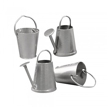 Metallic watering can + bucket, 2-3cm, 4 pcs