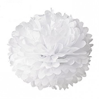 Tissue Pom Pom Flowers / 35cm / white / 1pc