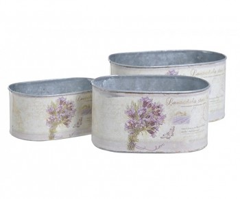 Metal pot lavender / large 20x10x12cm