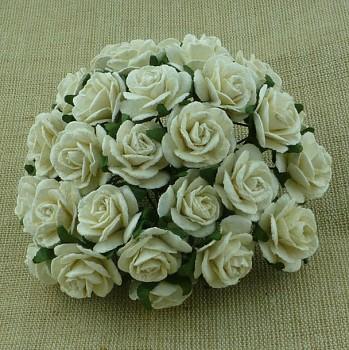 Papierové kvety / Ruže 2,5cm / 5ks / ivory