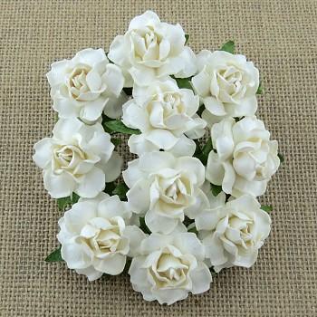 Mulberry Paper Cottage Roses 3cm / 5pcs / White