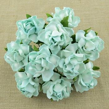 Papierové kvety / Ruže 3cm / 5ks / Aqua