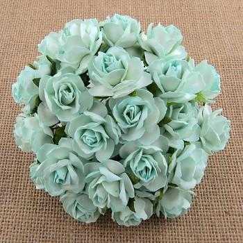 Papierové kvety / Wild Roses 3cm / 10ks / Aqua