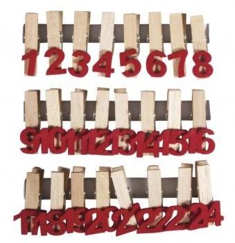 Adventskalenderzahlen auf Holzklammer / 37x35mm / 24Stück