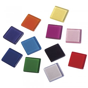 Acrylic mosaic 1x1cm / 50g / 205pcs / transparent coloured