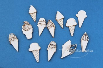 Chipboards - icecreams 2x4cm