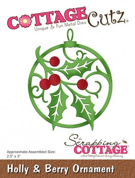 CottageCutz Holly & Berry Ornament