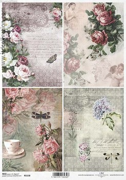 Rice decoupage paper A4 / ITD R1158