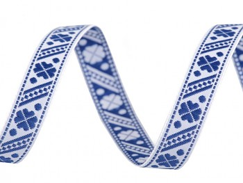 Woven Jacquard Trim Ribbon width 11 mm / 1m / Estate blue