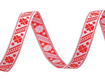 Woven Jacquard Trim Ribbon width 11 mm / 1m / Fiery red