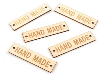 Wooden Tag Hand made / 13x50mm / 5pcs