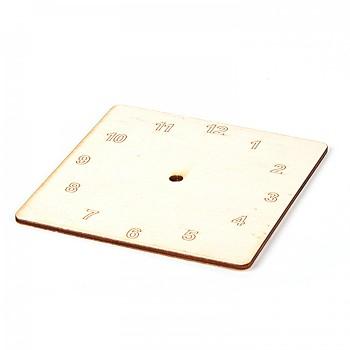 Dřevěný základ na hodiny - čtverec / arabské číslice