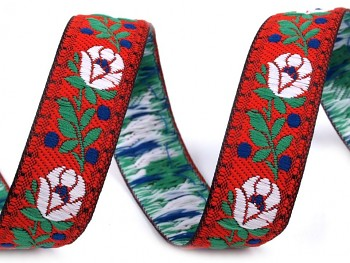 Polyester Folk Ribbon width 18mm / 1m / red
