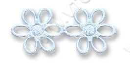 Aplikacja satynowa w taśmie 17mm kwiatki / 1 m / light blue
