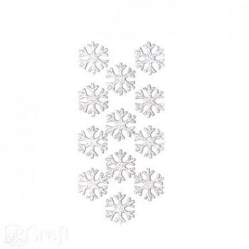 3D glitrové samolepky / Snehové vločky / 12ks