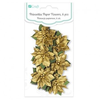 Poinsettia Paper Flowers / 6ks / Gold