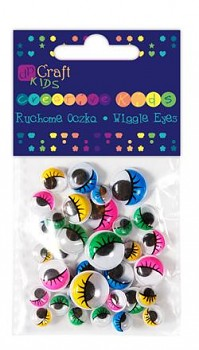 Assorted colour Wiggle eyes with eyelashes / 36pcs