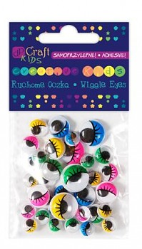 Assorted adhesive colour Wiggle eyes with eyelashes / 36pcs