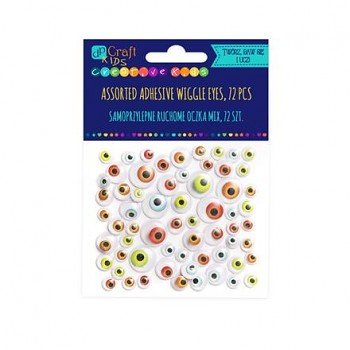 Assorted adhesive bright Wiggle eyes / 72pcs
