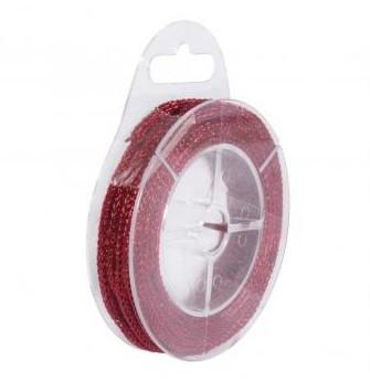 Glitterkordel, 2,5mm / 5m / Rot