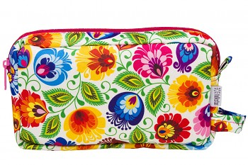 Folk cosmetic bag / 21x13x4,5cm / white