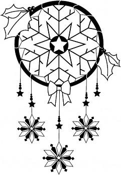 Dřevěné razítko / zimní lapač snů / 5x7,1cm