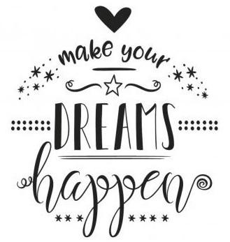 Dřevěné razítko / make your DREAMS happen / 8x9cm