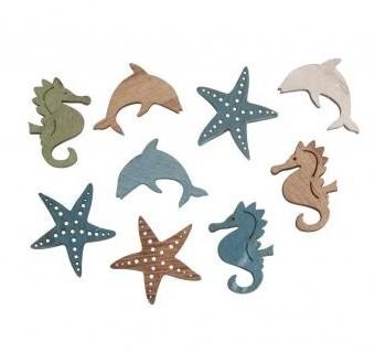 Dřevěné dekorace Sea animals / 9ks