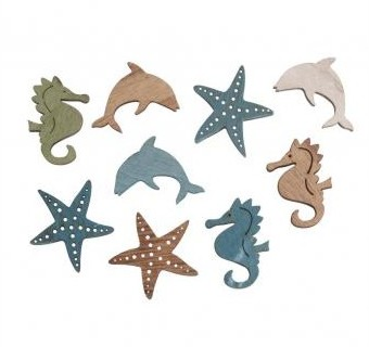 Wooden small objects / Sea animals / 9pcs