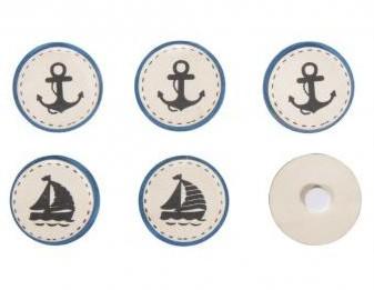 Drevené kolieska - samolepiace / Ship & Anchor / 3,5cm / 6ks