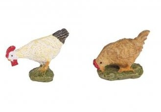 Polyresin Chickens with adhesive dot / 3x2.2x2.8cm / 4pcs