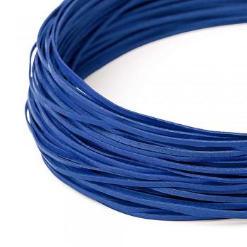 Kožená šnúrka - plochá 2mm / tm.modrá / 110cm