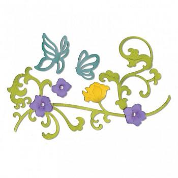 Sizzix Thinlits Die Set  - motýle a vetvička s kvetinami