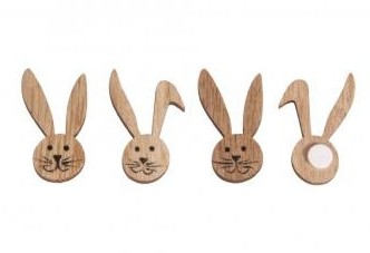 Wooden small objects / Rabbit heads / 4.3x2.2cm / 10pcs