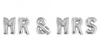 Foil balloons MR & MRS / 40cm / silver