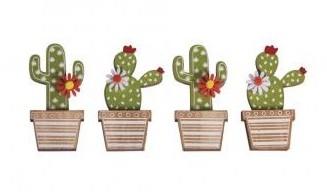 Drevené výrezy kaktusy 3.1 x 6.5 cm / 4ks