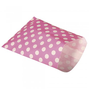 Paper sachets food grade / 12,9x16,8cm / 25szt / Pink with dots